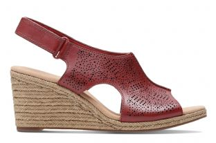 Clarks Womens Lafley Rosen Red Leather Wedge Sandals